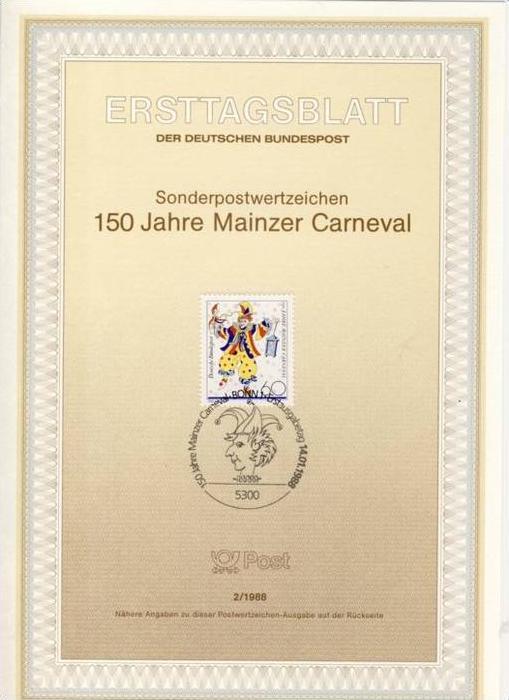 BRD - ETB (Ersttagsblatt) 2/1988 Michel 1349 - 150 Jahre Mainzer Karneval