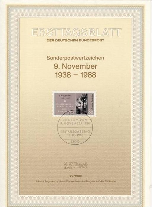 BRD - ETB (Ersttagsblatt) 29/1988 Michel 1389 - Reichskristallnacht