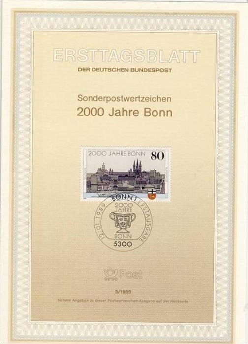 BRD - ETB (Ersttagsblatt) 3/1989 Michel 1402 - 2000 Jahre Bonn