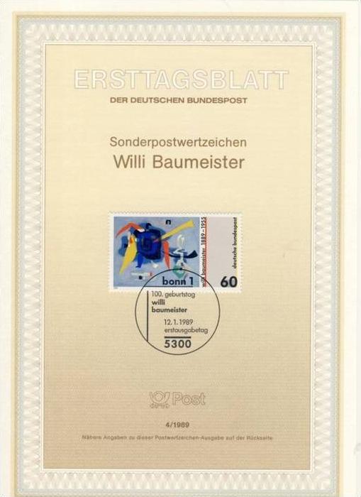 BRD - ETB (Ersttagsblatt) 4/1989 Michel 1403 - Willi Baumeister Gemälde