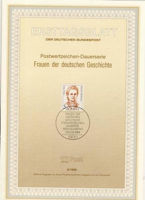 BRD - ETB (Ersttagsblatt) 6/1989 Michel 1405 - 5 Pf Frauen, Emma Ihrer