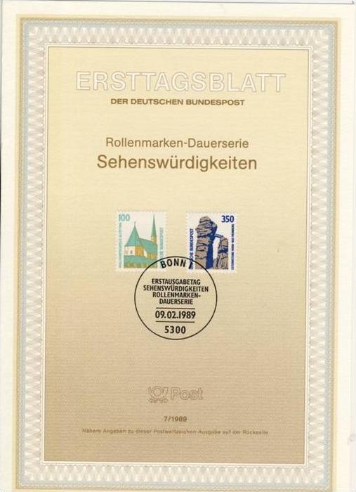 BRD -ETB (Ersttagsblatt) 7/1989 Michel 1406 / 1407 - 100, 350Pf Sehenswürdigkeiten
