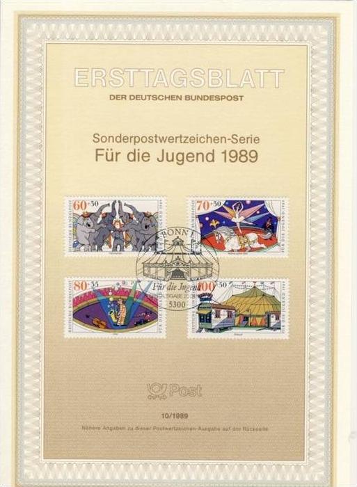 BRD - ETB (Ersttagsblatt) 10/1989 Michel 1411 / 1414 - Zirkus, Jugendmarken