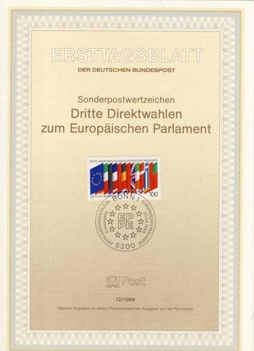 BRD - ETB (Ersttagsblatt) 12/1989 Michel 1416 - 3. Direktwahl Europäisches Parlament