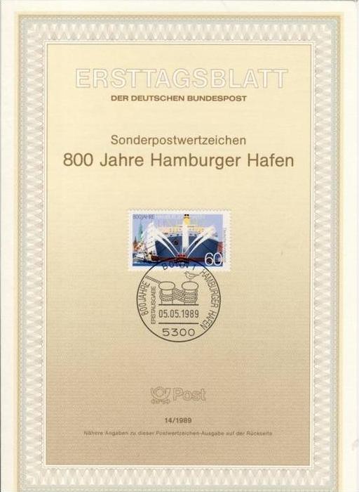 BRD - ETB (Ersttagsblatt) 14/1989 Michel 1419 - 800 Jahre Hamburger Hafen