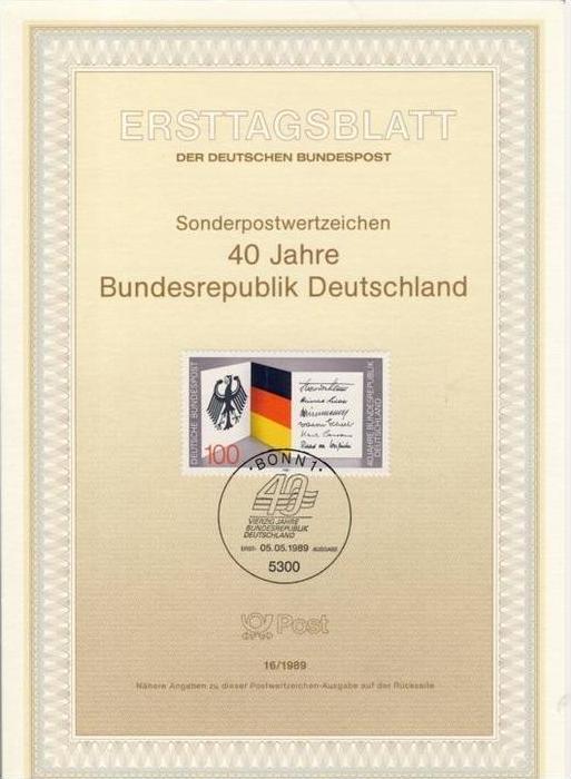 BRD - ETB (Ersttagsblatt) 16/1989 Michel 1421 - 40 Jahre BRD