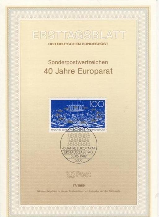 BRD - ETB (Ersttagsblatt) 17/1989 Michel 1422 - 40 Jahre Europarat