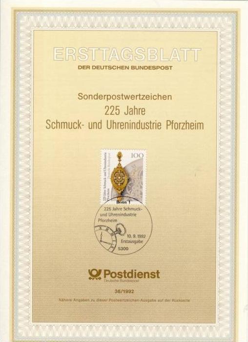 BRD - ETB (Ersttagsblatt) 36/1992 Michel 1628 - Schmuck- und Uhrenindustrie Pforzheim