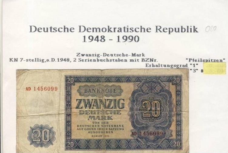 DDR - Ausgabe der Deutschen Notenbank 1948 ZwanzigDeutsche Mark (080) 0