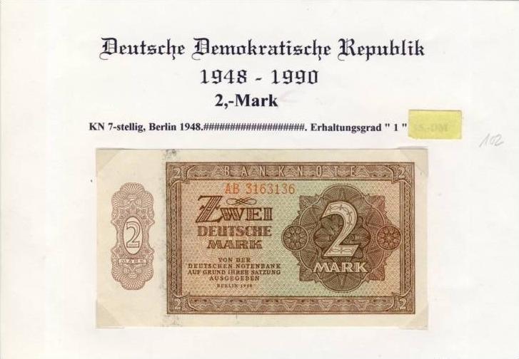 DDR - Deutsche Notenbank von 1948  -- Zwei  Mark  (102) 0