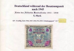 Deutschland während der Besatzungszeit - Noten des Alliierten Kontrollrates 1944  5 Mark  (122)