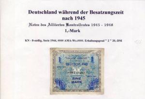 Deutschland während der Besatzungszeit - Noten des Alliierten Kontrollrates 1944  1 Mark  (123)