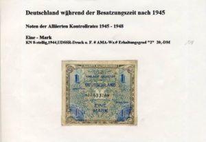 Deutschland während der Besatzungszeit - Noten des Alliierten Kontrollrates 1944  1 Mark  (124)