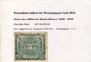 Deutschland während der Besatzungszeit - Noten des Alliierten Kontrollrates 1944  Halbe Mark  (125)