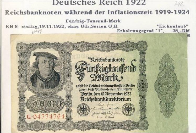 Deutsches Reich -- Reichsbanknote während der Inflationszeit v. 1922  50000 Mark  (242)
