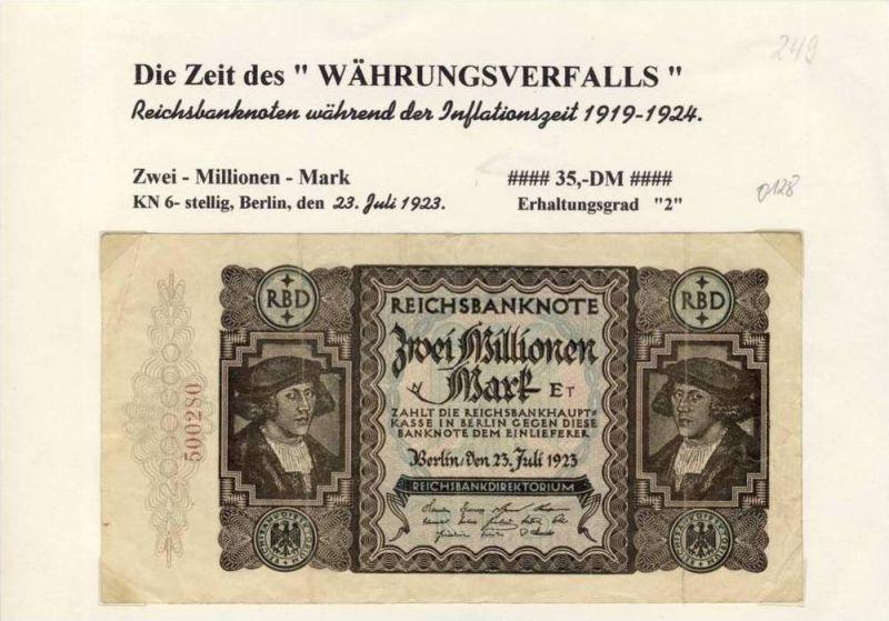 Deutsches Reich -- Reichsbanknote während der Inflationszeit v. 1923  2 Millionen Mark  (249)