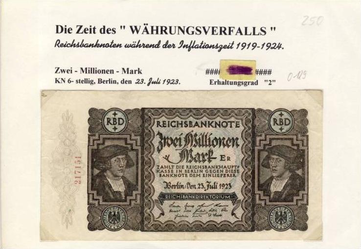 Deutsches Reich -- Reichsbanknote während der Inflationszeit v. 1923  2 Millionen Mark  (250)