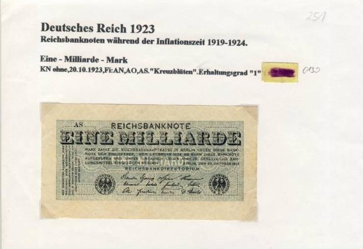 Deutsches Reich -- Reichsbanknote während der Inflationszeit v. 1923  1 Milliarde Mark  (251)
