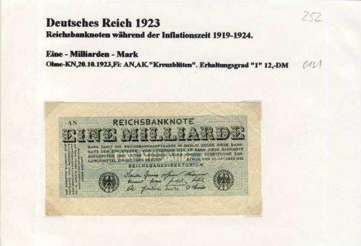 Deutsches Reich -- Reichsbanknote während der Inflationszeit v. 1923  1 Milliarde Mark  (252)