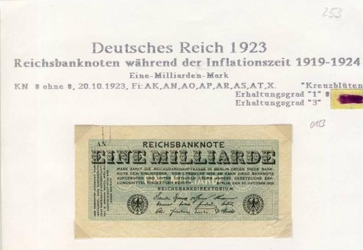Deutsches Reich -- Reichsbanknote während der Inflationszeit v. 1923  1 Milliarde Mark  (253)