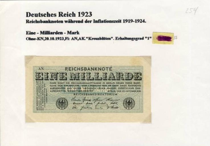 Deutsches Reich -- Reichsbanknote während der Inflationszeit v. 1923  1 Milliarde Mark  (254)