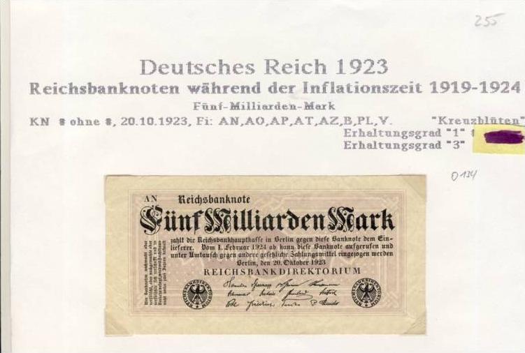 Deutsches Reich -- Reichsbanknote während der Inflationszeit v. 1923  5 Milliarden Mark  (255)