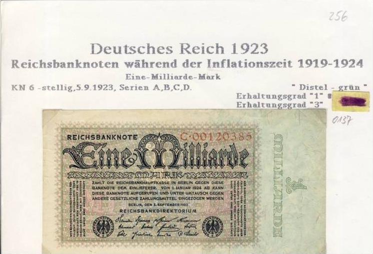 Deutsches Reich -- Reichsbanknote während der Inflationszeit v. 1923  1 Milliarde Mark  (256)