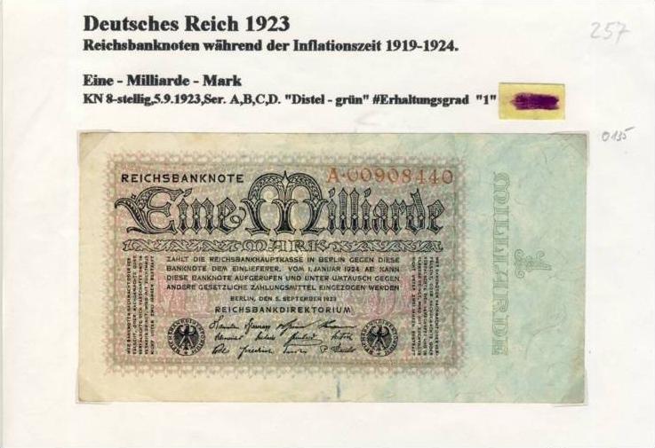 Deutsches Reich -- Reichsbanknote während der Inflationszeit v. 1923  1 Milliarde Mark  (257)
