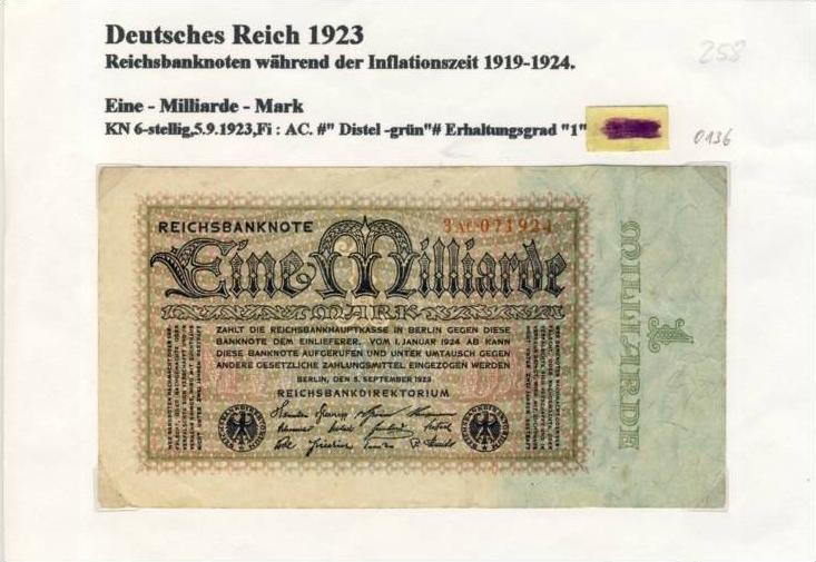 Deutsches Reich -- Reichsbanknote während der Inflationszeit v. 1923  1 Milliarde Mark  (258) 0