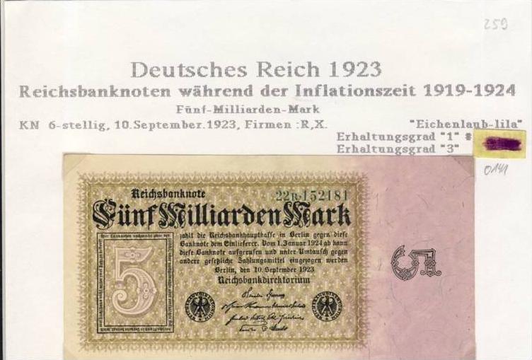 Deutsches Reich -- Reichsbanknote während der Inflationszeit v. 1923  5 Milliarden Mark  (259)