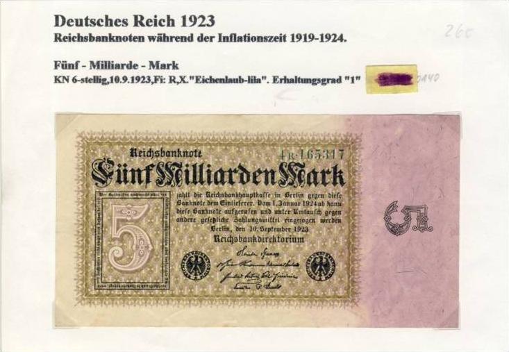 Deutsches Reich -- Reichsbanknote während der Inflationszeit v. 1923  5 Milliarden Mark  (260)