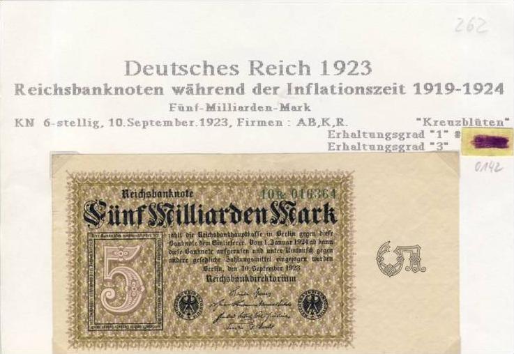 Deutsches Reich -- Reichsbanknote während der Inflationszeit v. 1923  5 Milliarden Mark  (262) 0