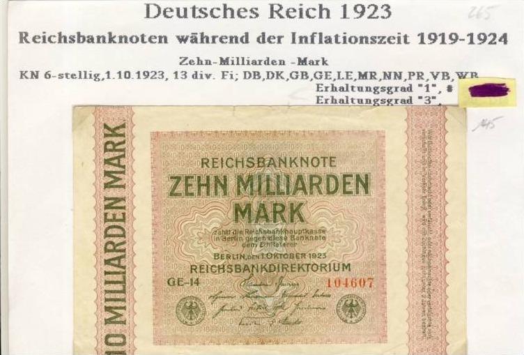 Deutsches Reich -- Reichsbanknote während der Inflationszeit v. 1923  10 Milliarden Mark  (265)
