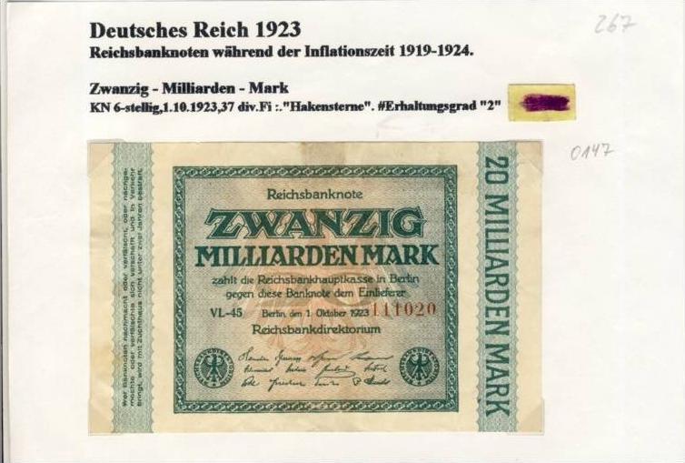 Deutsches Reich -- Reichsbanknote während der Inflationszeit v. 1923  20 Milliarden Mark  (267)