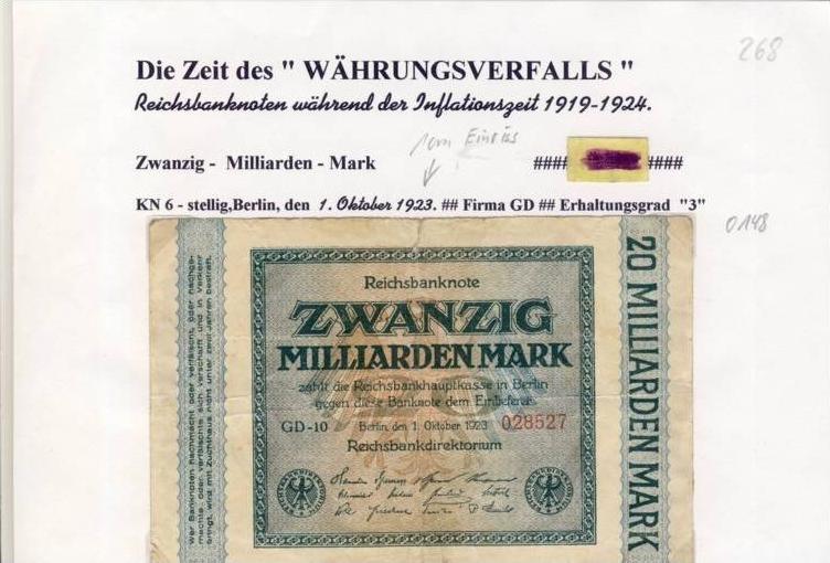 Deutsches Reich -- Reichsbanknote während der Inflationszeit v. 1923  20 Milliarden Mark  (268)