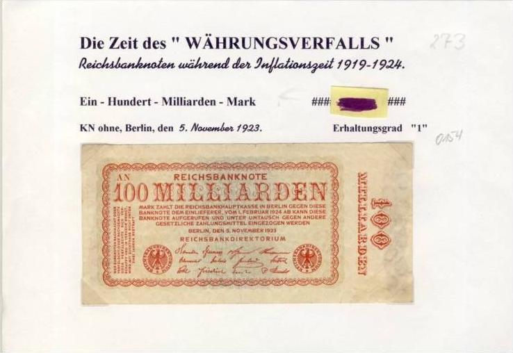 Deutsches Reich -- Reichsbanknote während der Inflationszeit v. 1923  100 Milliarden Mark  (273)