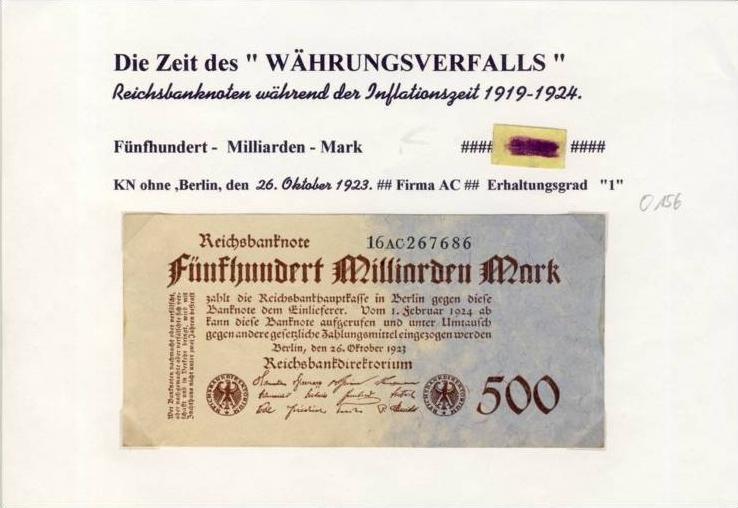 Deutsches Reich -- Reichsbanknote während der Inflationszeit v. 1923  500 Milliarden Mark  (274)