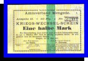 Kriegs-Wechsel-Schein, Amtsverband Mengede v. 1917  Eine halbe Mark -