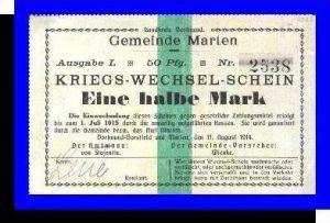 Kriegs-Wechsel-Schein, Gemeinde Marten v. 1914  Eine halbe Mark -