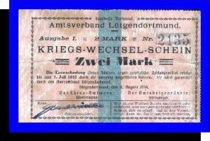 Kriegs-Wechsel-Schein, Amtsverband Lütgendortmund v. 1914  Zwei Mark -