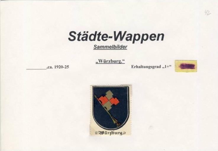Städte Wappen - WÜRZBURGl ca. v. 1925  --- siehe beschr. !! (42)