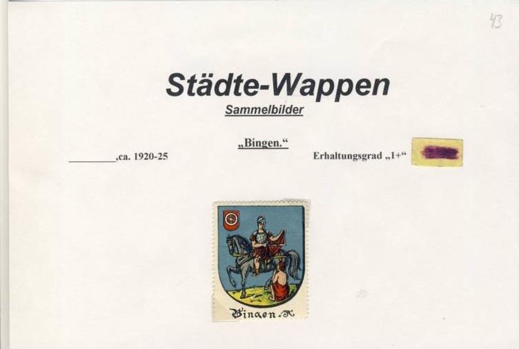 Städte Wappen - BINGEN ca. v. 1925  --- siehe beschr. !! (43)