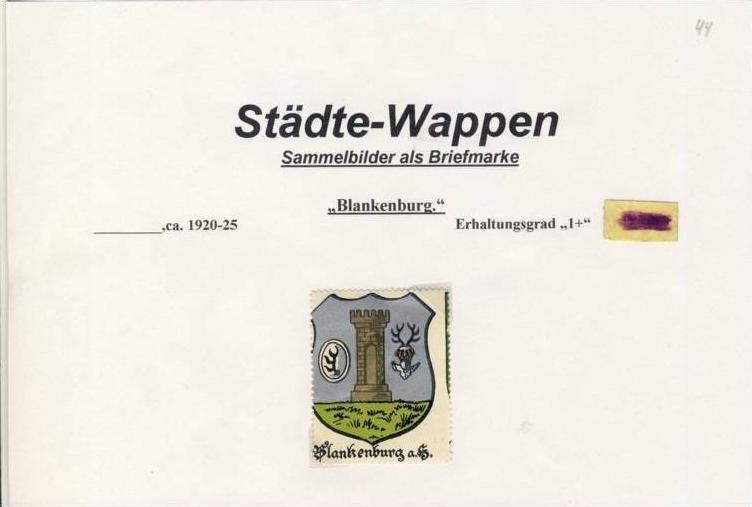 Städte Wappen - BLANKENBURG ca. v. 1925  --- siehe beschr. !! (44)