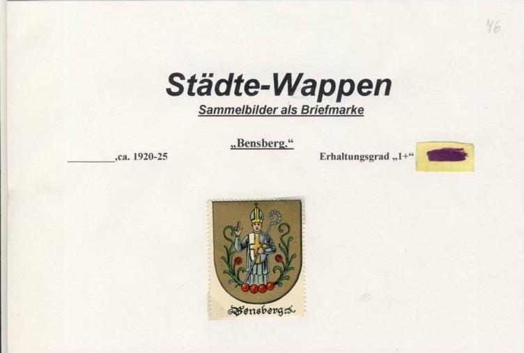 Städte Wappen - BERNSBERG ca. v. 1925  --- siehe beschr. !! (46)