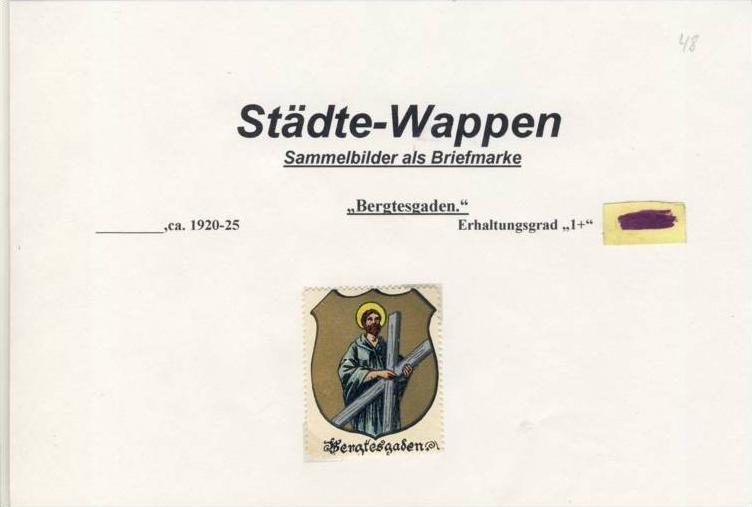 Städte Wappen - BERGTESGADEN ca. v. 1925  --- siehe beschr. !! (48) 0