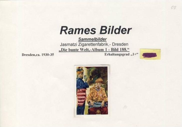 WERBUNGS-Sammelbild,RAMES,Jasmatzi Zigarettenfabrik-Dresden  --- siehe beschr. !! (08)