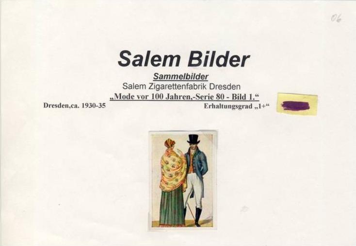 WERBUNGS-Sammelbild,SALEM Zigarettenfabrik-Dresden  --- siehe beschr. !! (06) 0