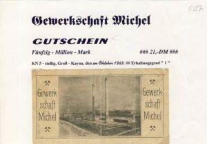 Städte Großgeldscheine - Banknoten während der Inflationszeit v. 1923 Grosß Kayna  50 Millionen Mark