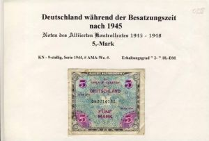 Noten des Alliierten Kontrollrates v. 1944  5 Mark