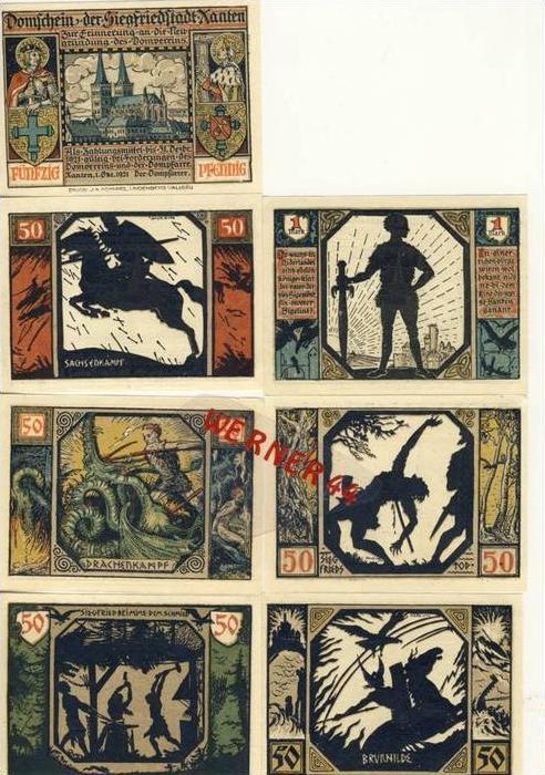 Städte Notgeldscheine-Banknoten während der Inflationszeit v.1922 Xanten 6x50Pfg.+1Mark